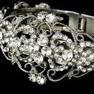 Silver Rhinestone Crystal Elegant Cuff Bracelet