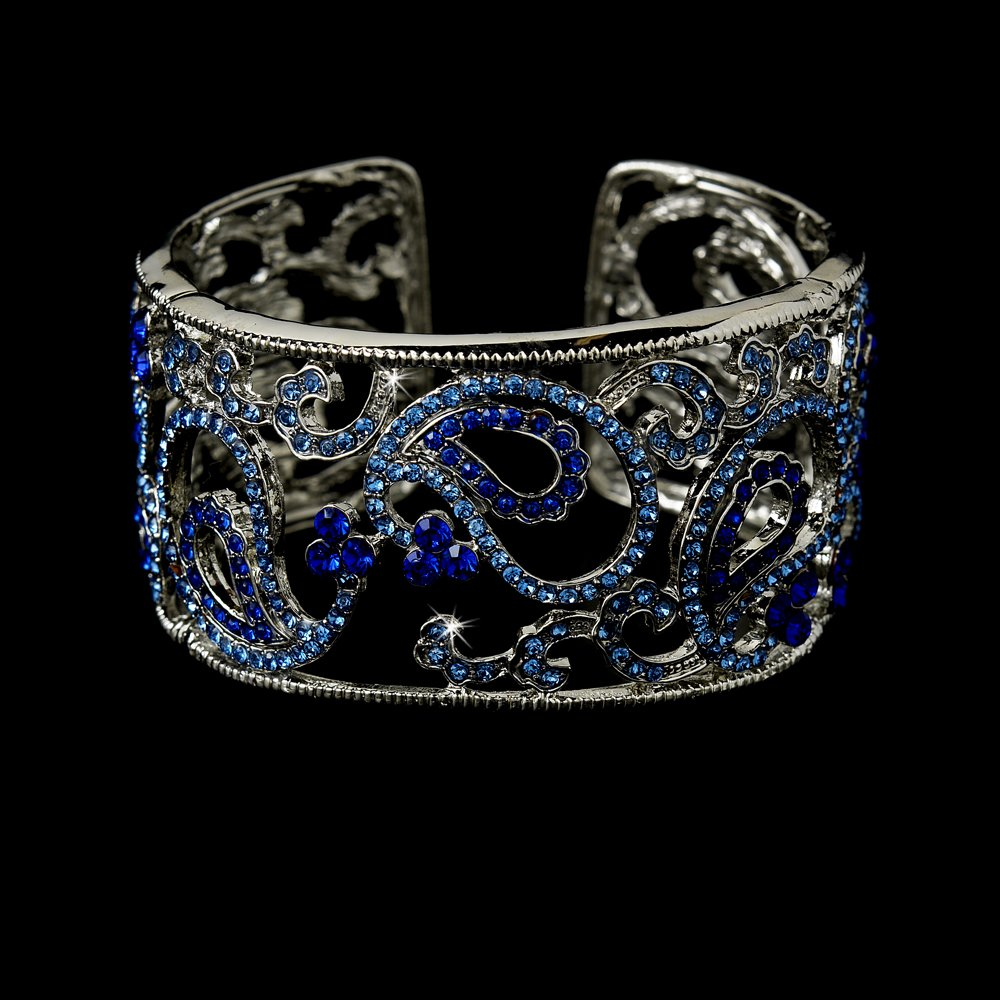 Silver Blue Clear Rhinestone Crystal Cuff Bracelet