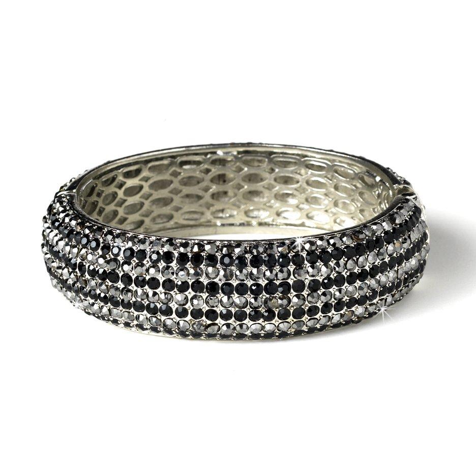 Silver Black Clear Rhinestone Crystal Bangle Bracelet