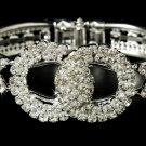 Silver Rhinestone Crystals Round Cuff Bracelet