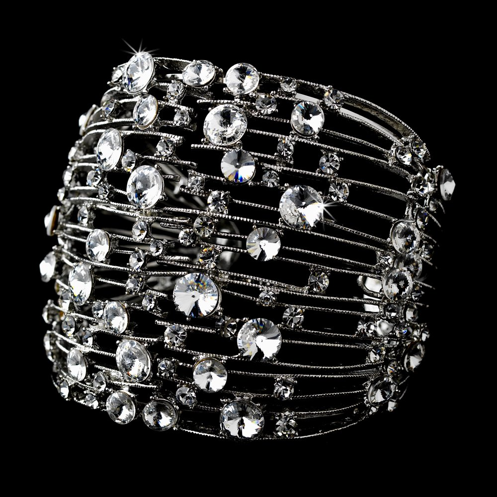Sterling Silver Genuine Crystal Cuff Bracelet