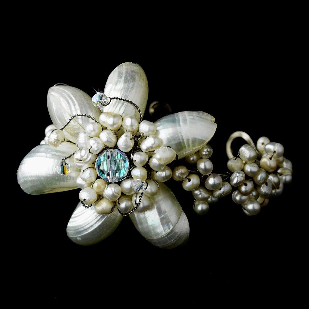 Silver Pearlescent Shell AB Crystal Beach Cuff Bracelet