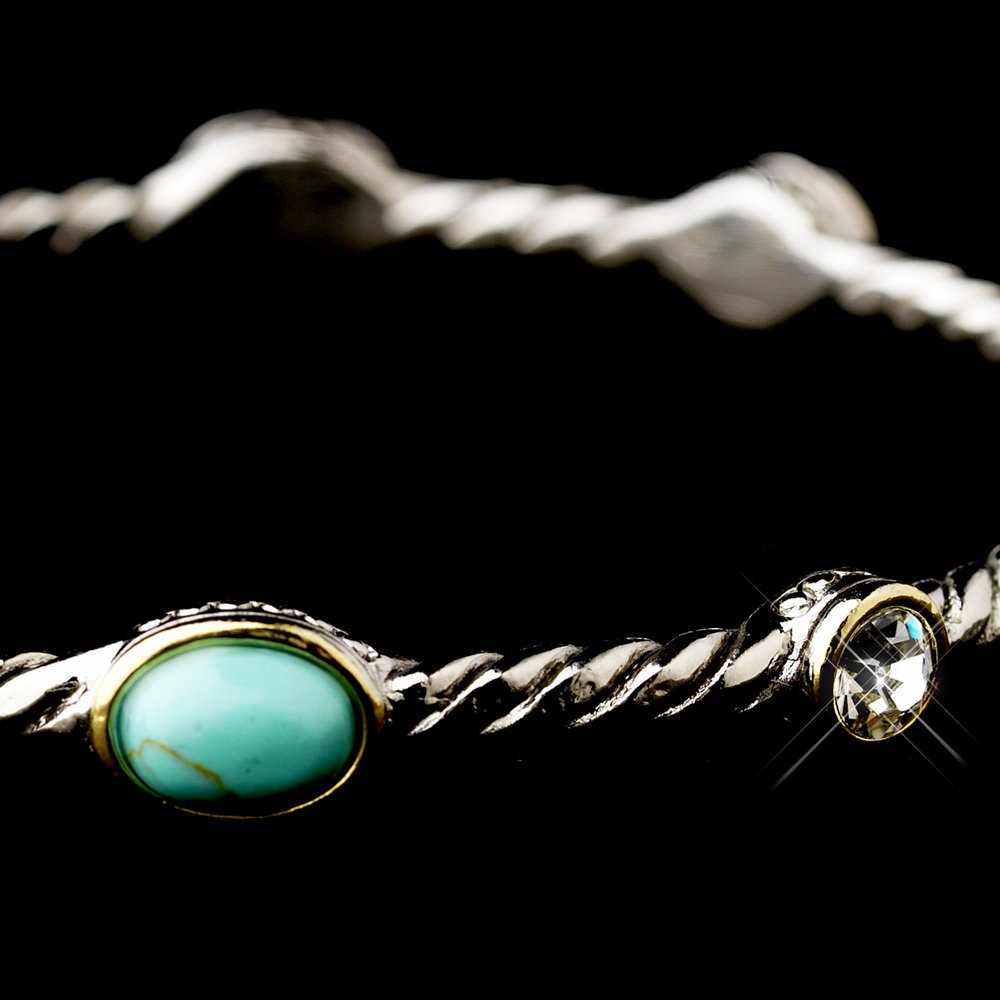 Silver Pearl Austrian Crystal Turquoise Bangle Bracelet