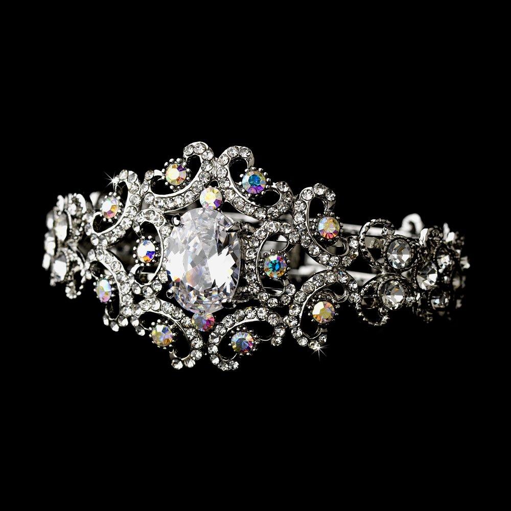 Silver AB Clear Rhinestone Crystal Cuff Bracelet