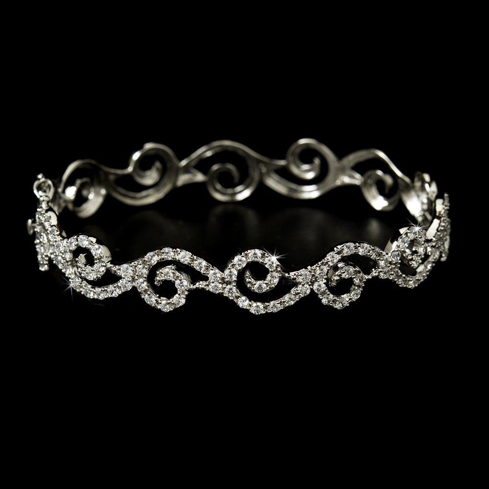 Silver Swirling Rhinestone Crystal Cuff Bracelet