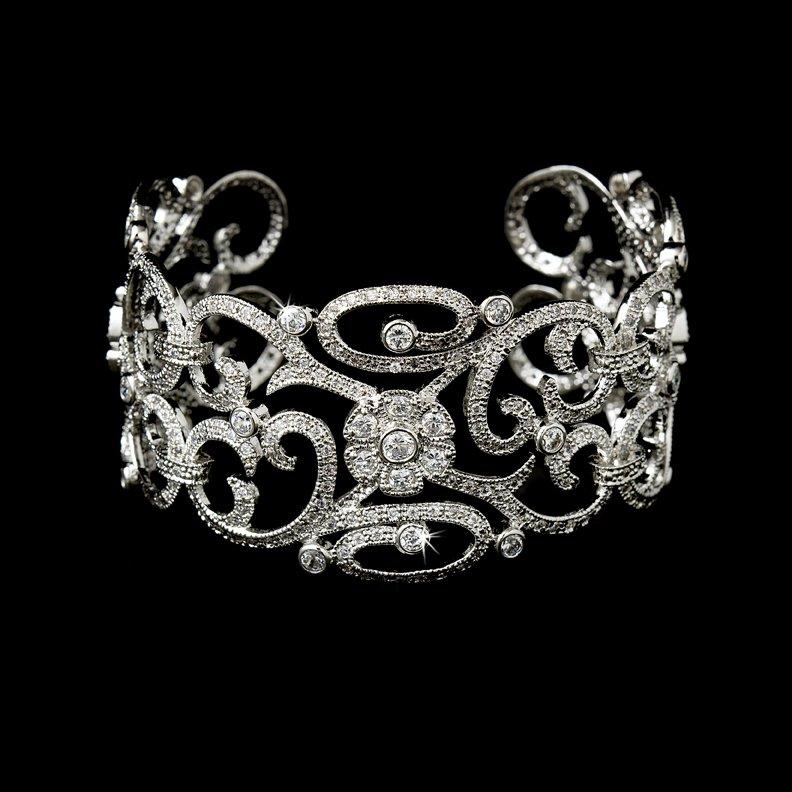 Silver Vintage Rhinestone Crystal Cuff Bracelet