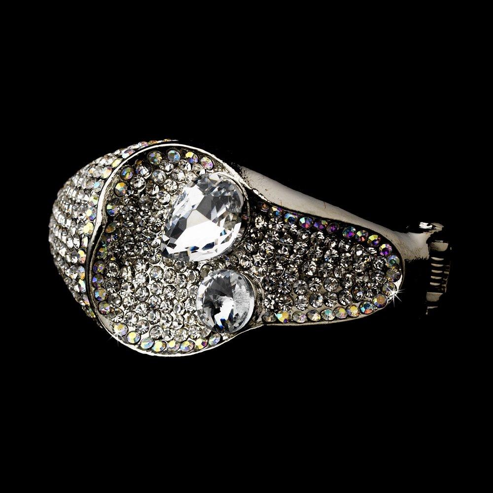 Silver Clear AB Rhinestone Cuff Bracelet
