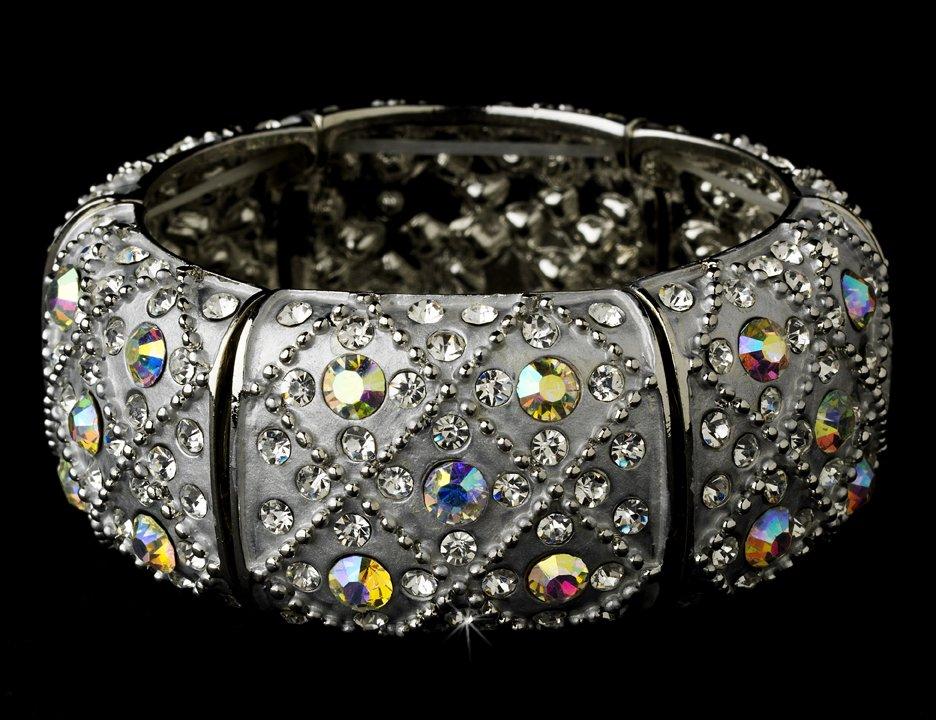 Silver Clear AB Rhinestone Crystal Cuff Bracelet