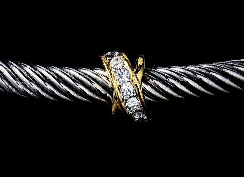 Silver Gold Rhinestone Crystal Designer Bangle Bracelet