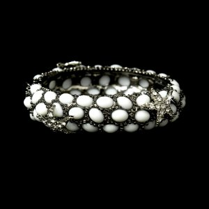 Silver White Rhinestone Crystal Starfish Cuff Bracelet