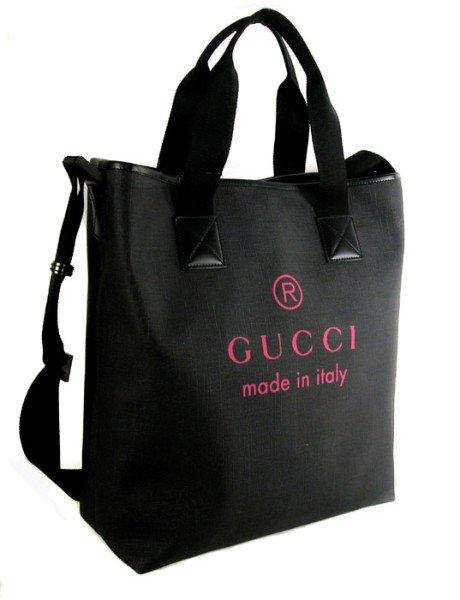 Gucci 231859 Black/Pink Tall Nylon Tote  Bag Handbag