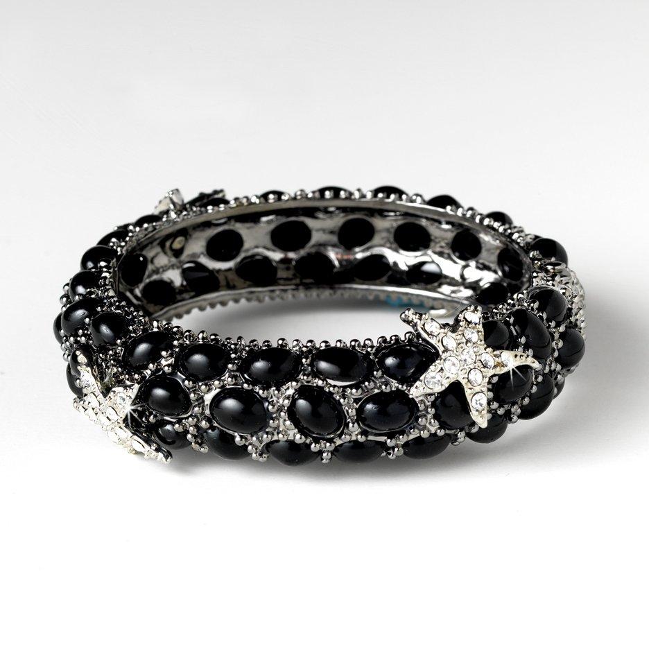 Silver Black Rhinestone Crystal Starfish Cuff Bracelet