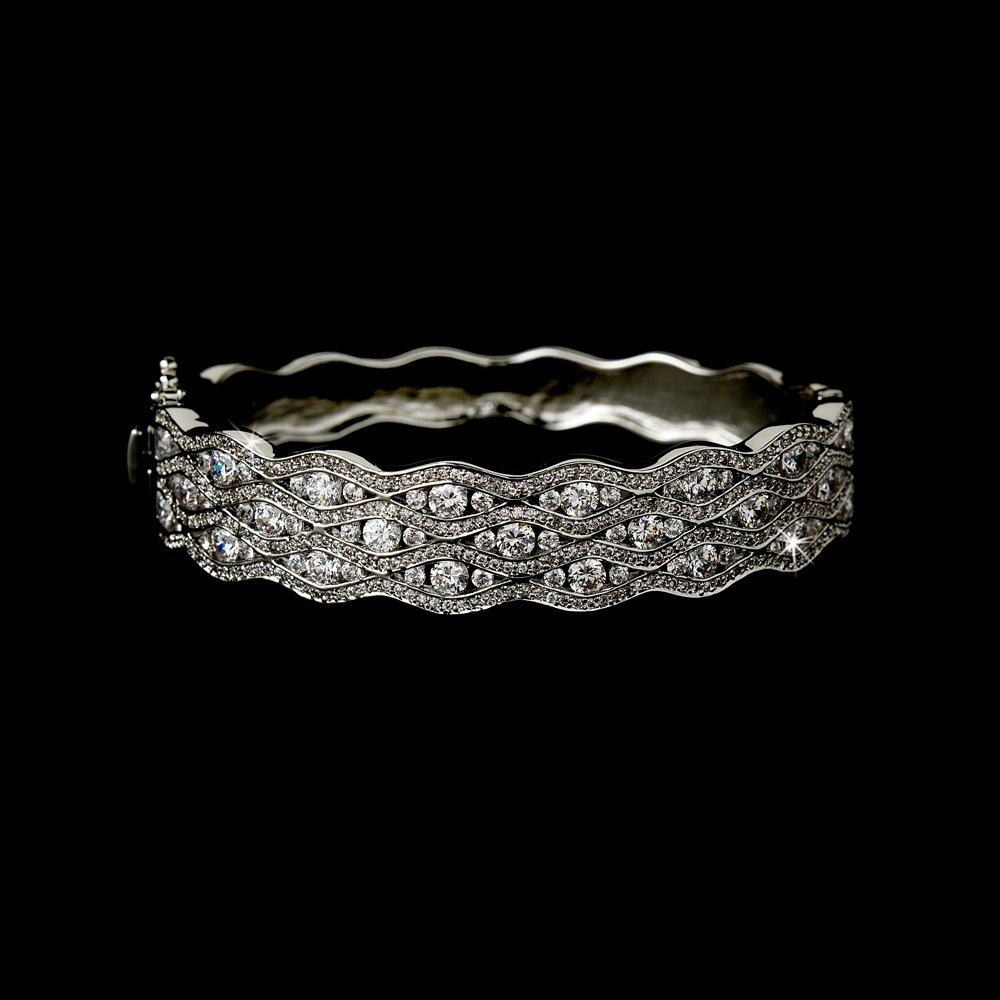Elegant Sterling Silver Cubic Zirconia Bangle Bracelet