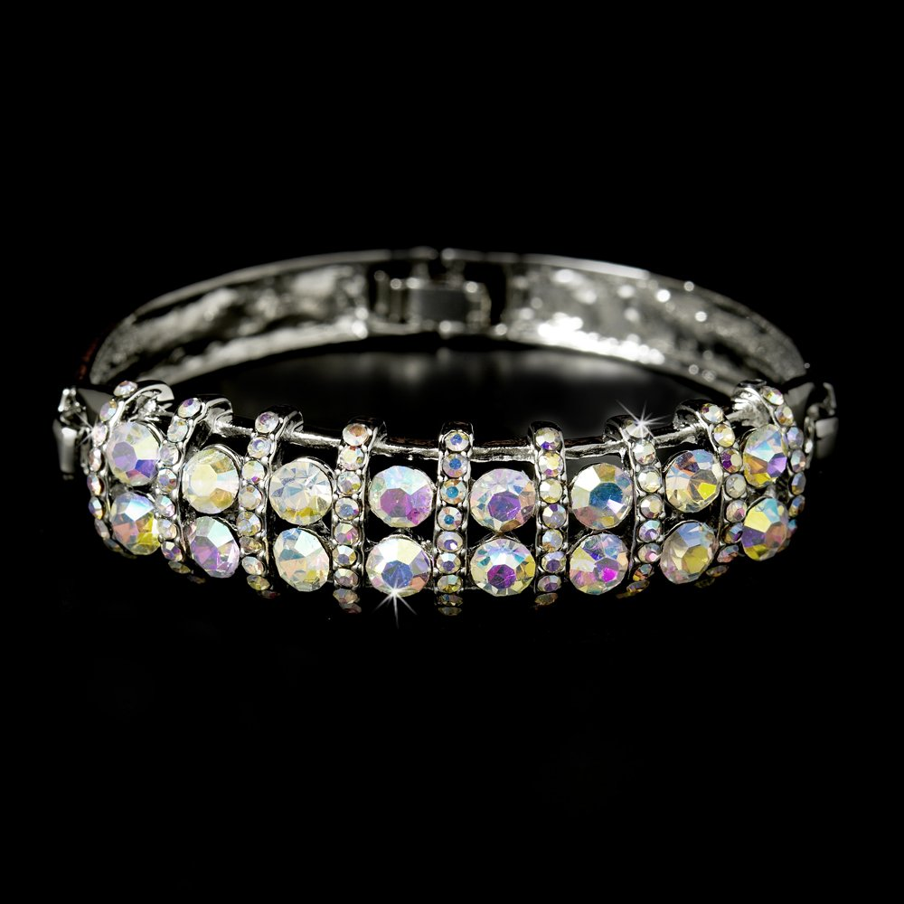 Silver AB Rhinestone Crystal Bangle Bracelet