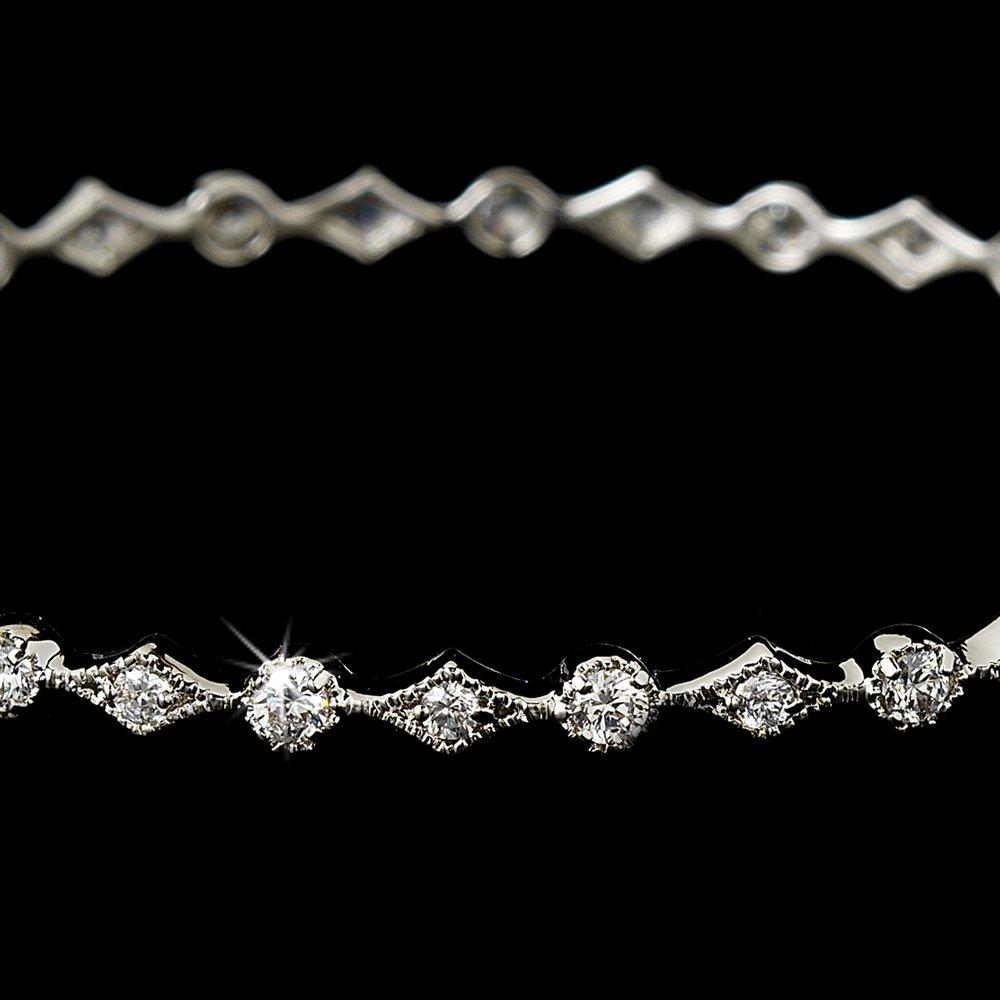 Silver Rhinestone Crystals Bangle Bracelet