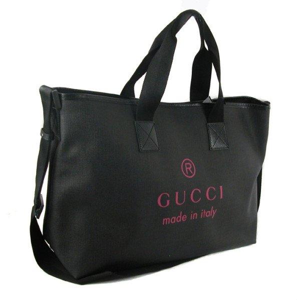 Gucci 231860 Black/Pink Large Nylon Tote Bag Handbag