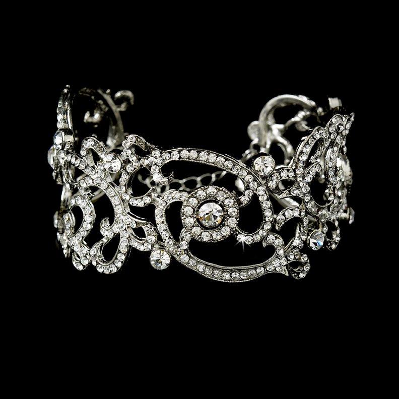 Rhodium Vintage Cubic Zirconia Cuff Bracelet