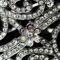Silver Romantic AB Rhinestone Floral Bangle Bracelet