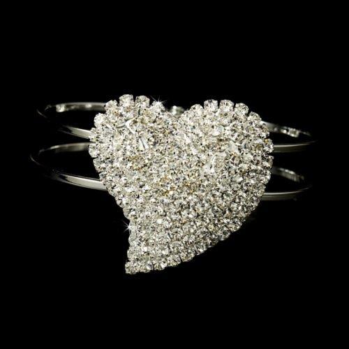 Silver Rhinestone Crystal Heart Cuff Bridal Bracelet