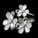 Rhodium Silver Clear Crystal Flowers Cuff Bracelet