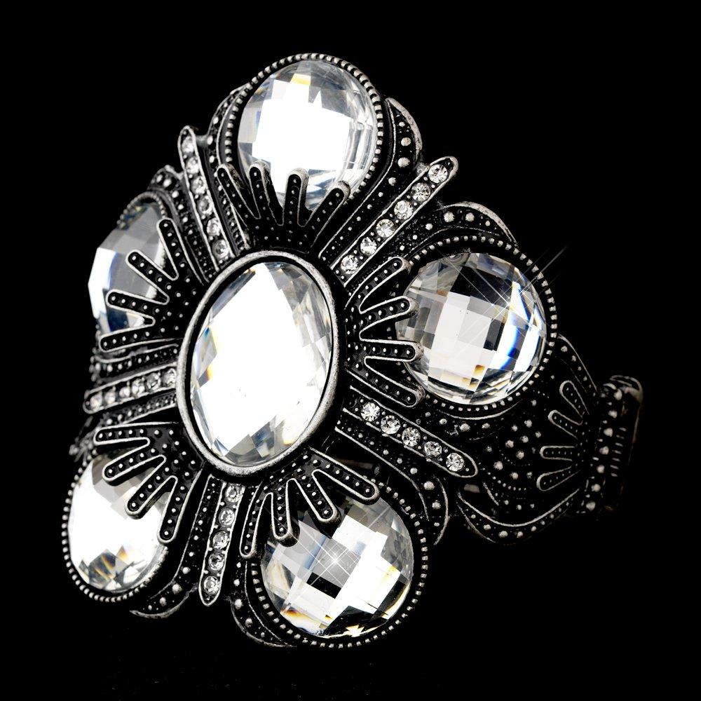 Silver Austrian Crystal Rhinestone Cuff Bracelet