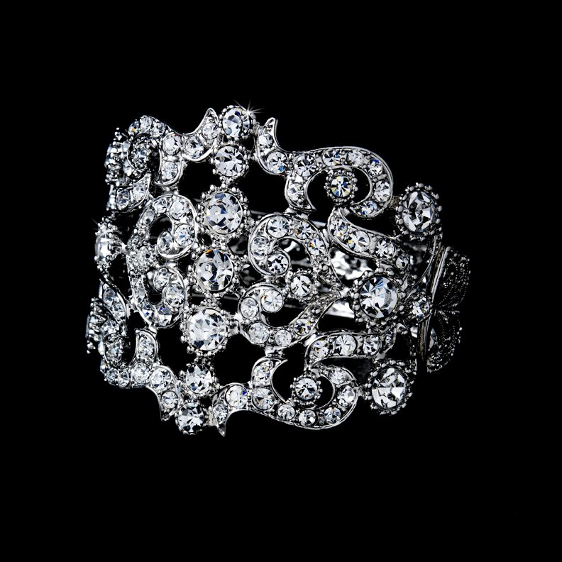 Silver Hearts Rhinestone Crystal Cuff Bracelet