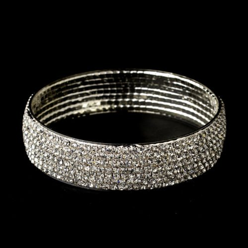Silver Genuine Crystal Bangle Bracelet