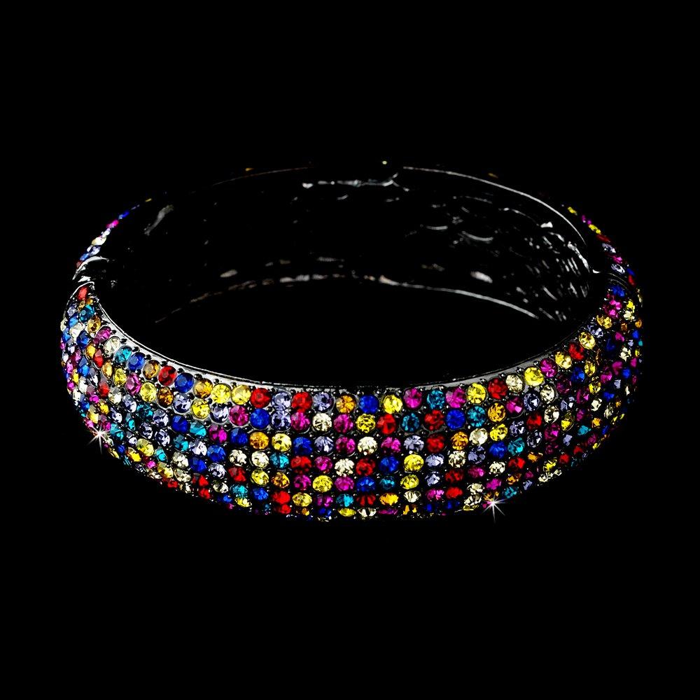 Silver Multi Color Rhinestone Crystal Bangle Bracelet