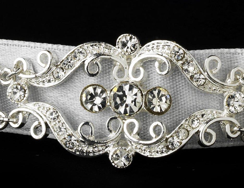 Silver Crystal White Ribbon Bridal Headband Tiara
