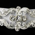 Silver Crystal White Ribbon Bridal Headband Tiara