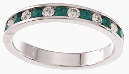 NEW 925 Sterling Silver CZ Emerald Eternity Band Ring