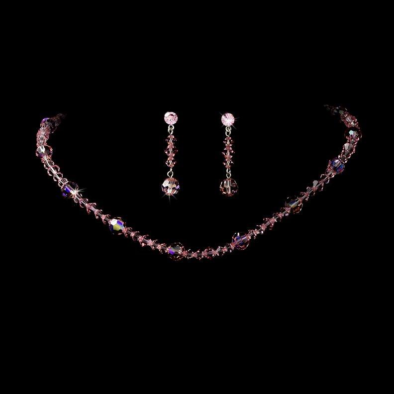 Pink Swarovski Crystal Necklace Earring Set