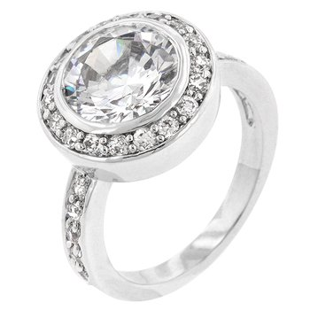 White Gold Silver Clear CZ Engagement Ring