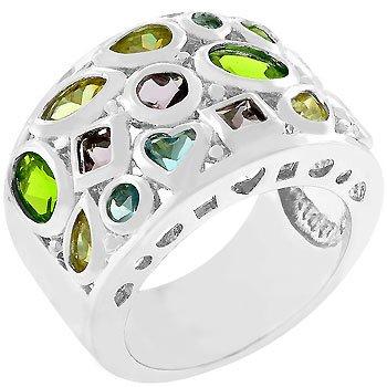 NEW White Gold Silver Multi-Colored CZ Ring