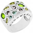 NEW White Gold Silver Multi-Colored CZ Ring