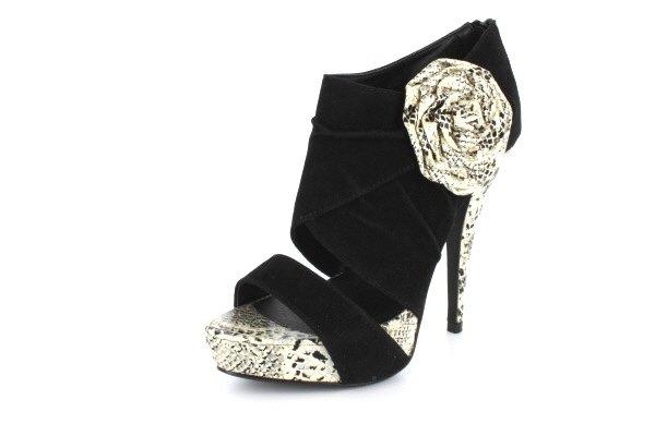 NEW Black Suede Snakeskin Platform High Heels Shoes