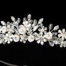 Silver Swarovski Crystal White Flower Bridal Tiara