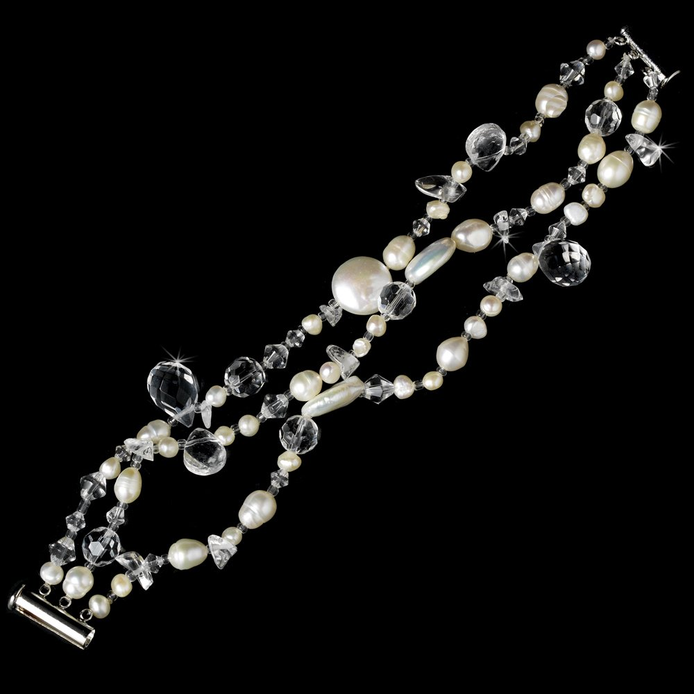Silver Swarovski Crystal Freshwater Pearl  Bracelet