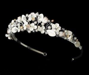 Silver Swarovski Rum Pink Ivory Pearl Flower Tiara