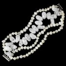 Silver Ivory Pearl Clear Glass Pearl Bridal Bracelet