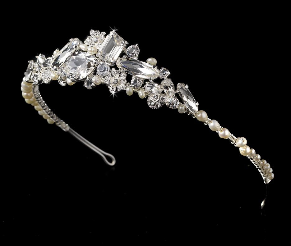 Silver Freshwater Pearl Rhinestone Crystal Bridal Tiara