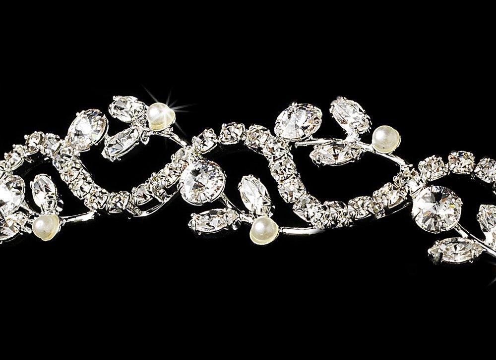 Silver White Pearl Rhinestone Floral Vine Tiara