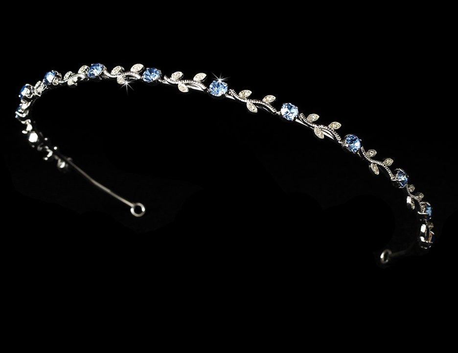 Silver Light Blue Rhinestone Floral Vine Bridal Tiara