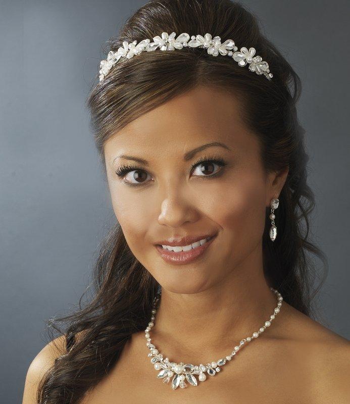 Silver Rhinestone White Pearl Classic Bridal Tiara
