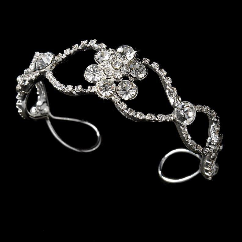 Silver Rhinestone Crystal Flower Bridal Cuff Bracelet