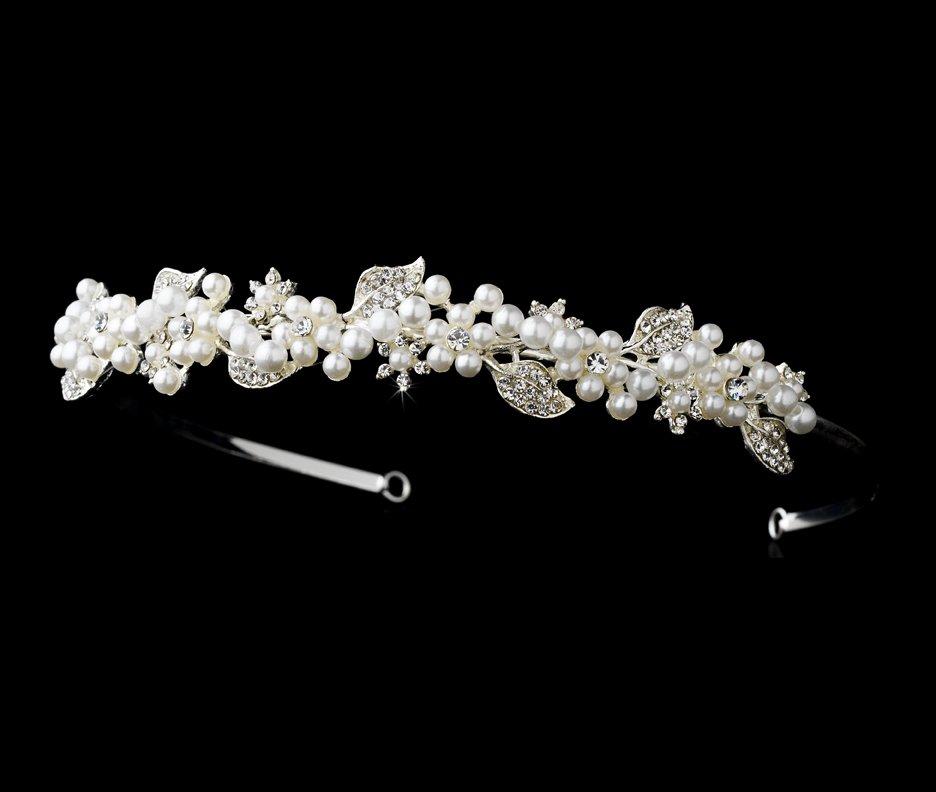 Silver White Pearl Rhinestone Antique Bridal Tiara