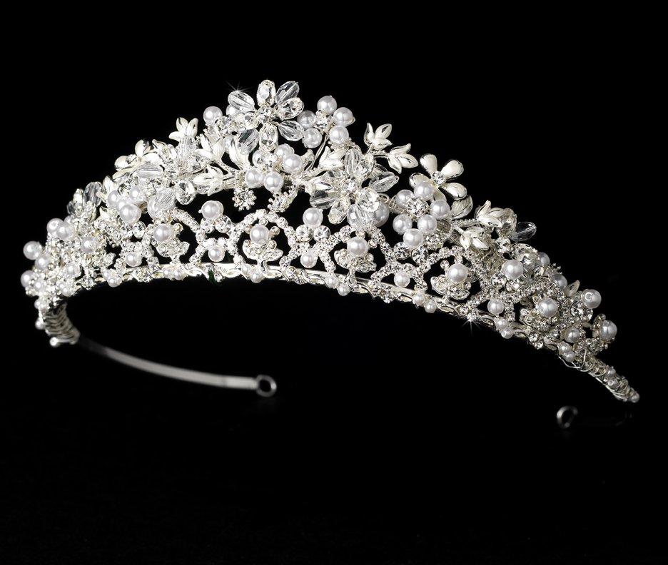 Silver Elegant White Pearl Crystal Bridal Tiara