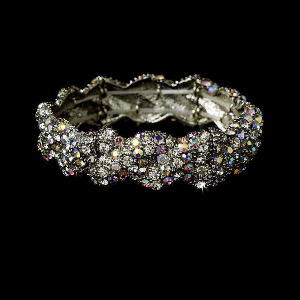 Silver  AB Rhinestone Crystal Bridal Stretch Bracelet