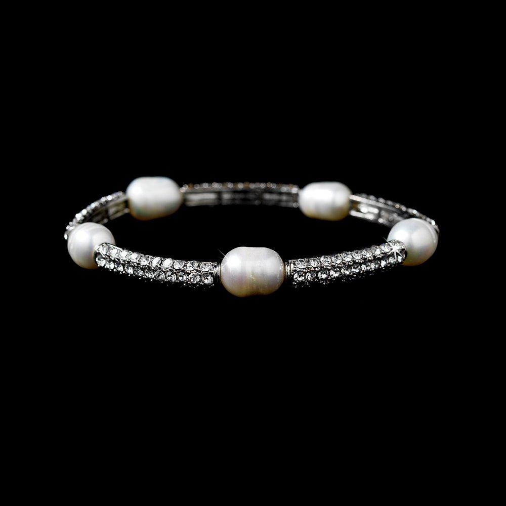 Silver Rhinestone Crystal Ivory Pearl Bridal Bracelet