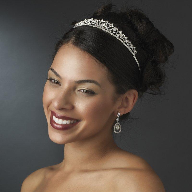Silver Rhinestone Crystal White Pearl Bridal Tiara